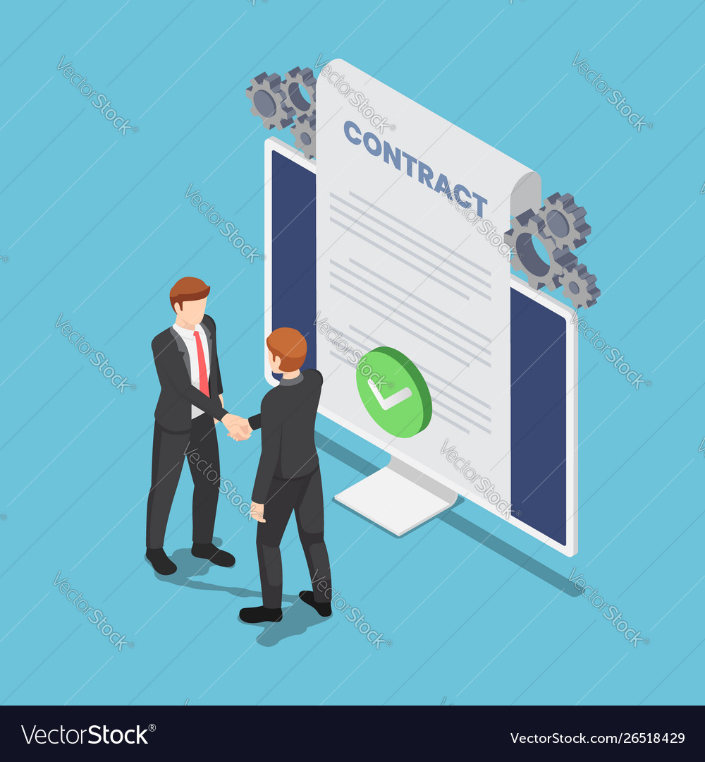 Isometric businessmen shaking hand with online