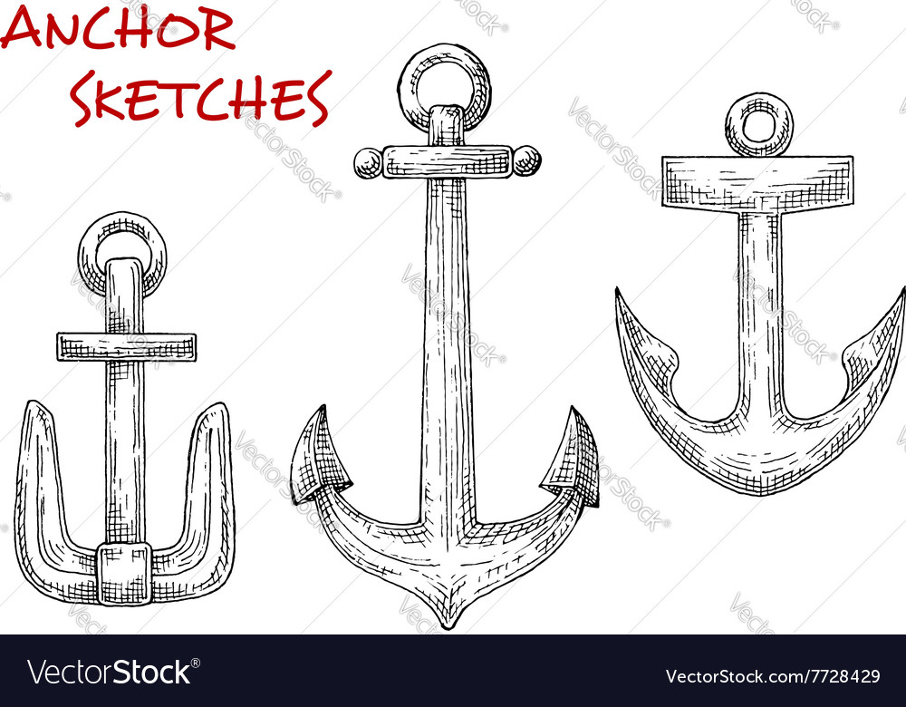 Retro sea anchors sketches set