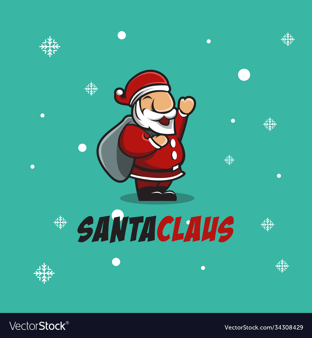 Santa claus logo cartoon mascot on christmas