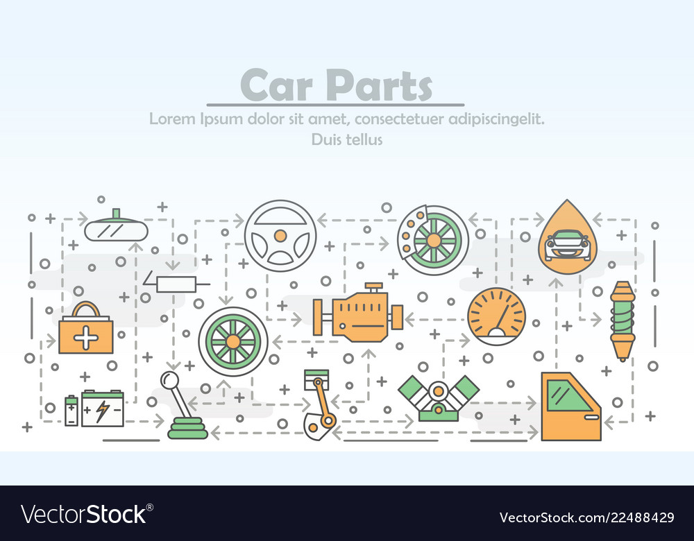 Thin line art car parts poster banner
