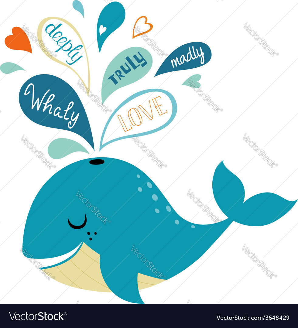 Whale in love vector image