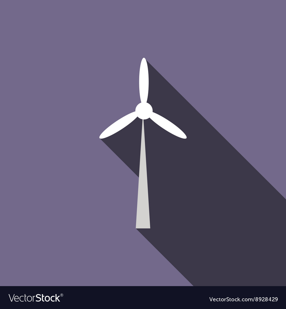 Wind turbine icon flat style vector image
