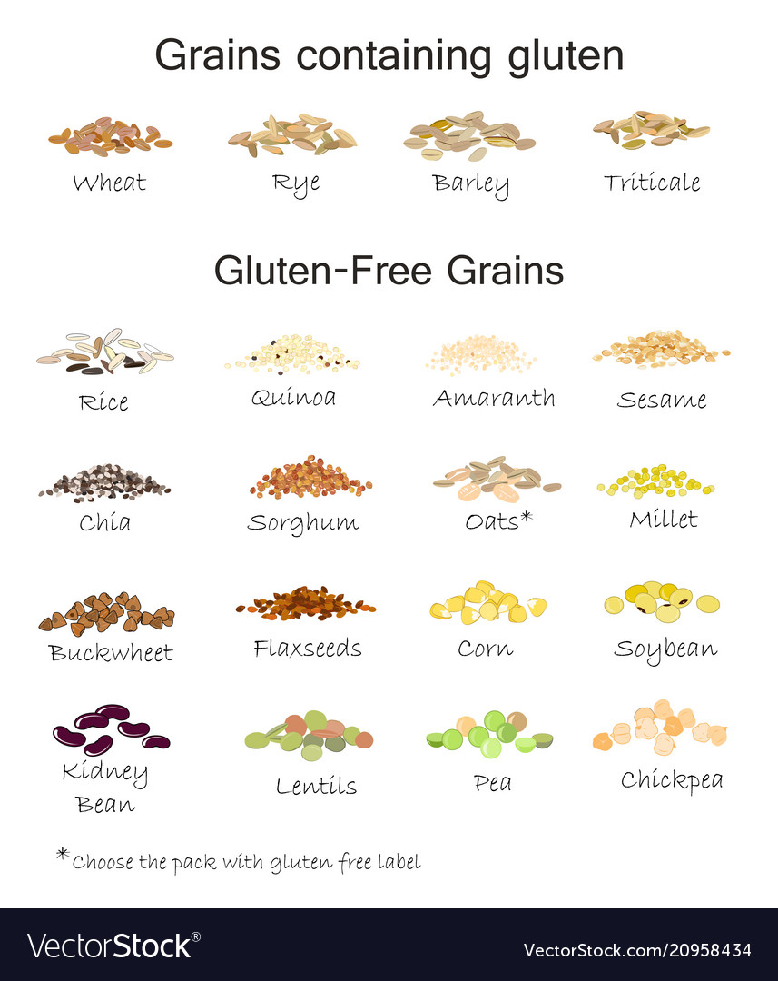 A variety of gluten free and containing gluten