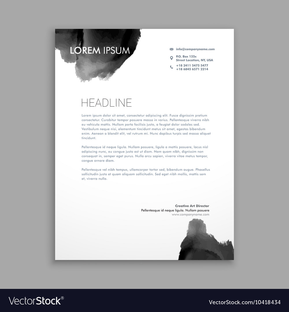 Abstract black ink letterhead design