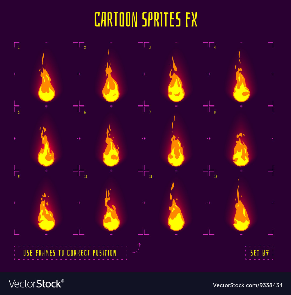 Animation frames or fire sprites