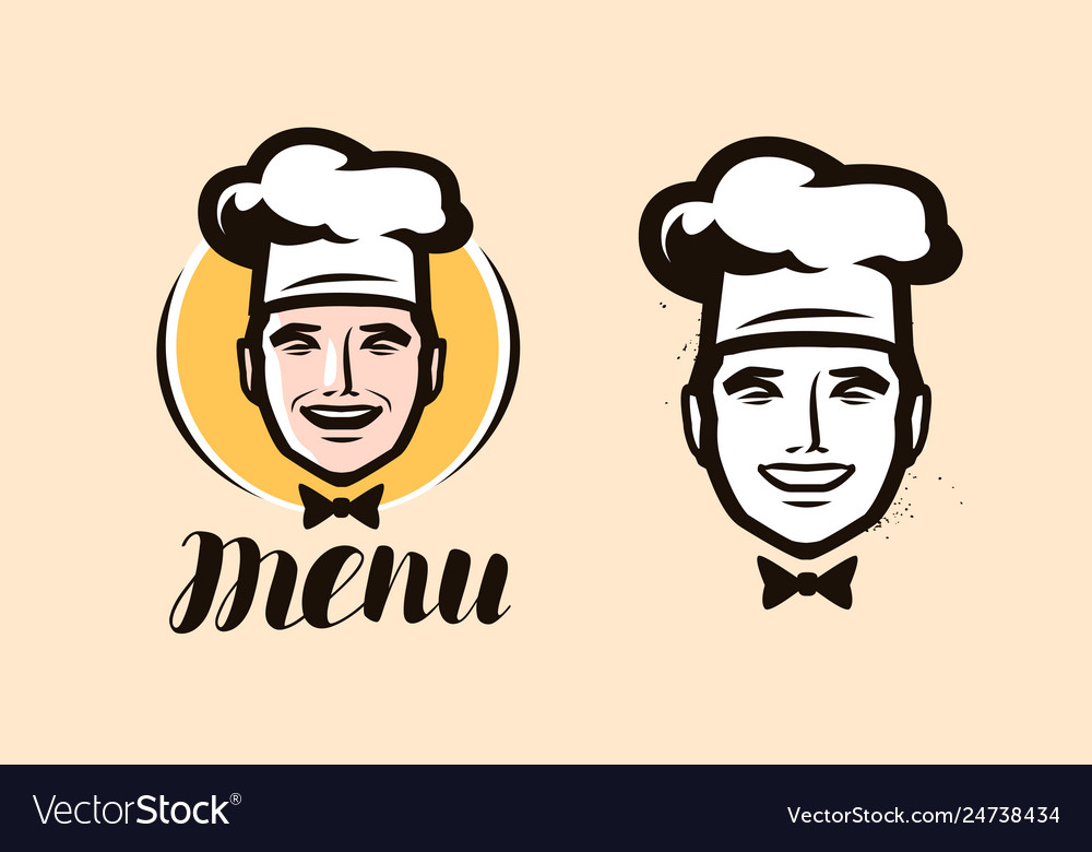 Chef logo cuisine cooking icon or label