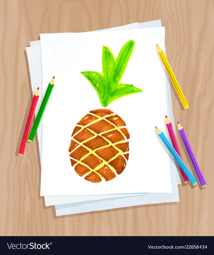 child drawing of pine apple royalty free vector image