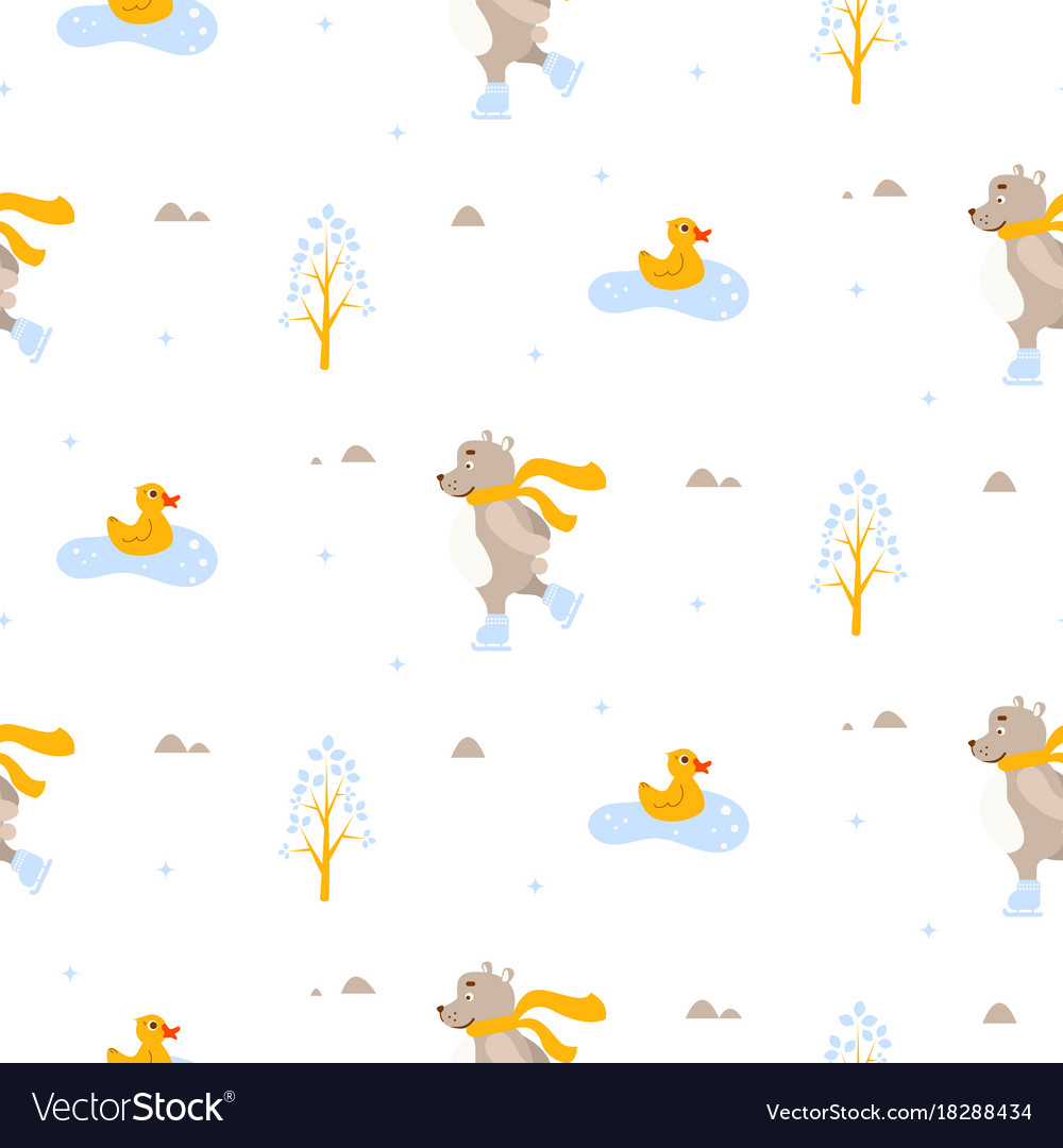 Cute bear and duck ice-skating on pond seamless