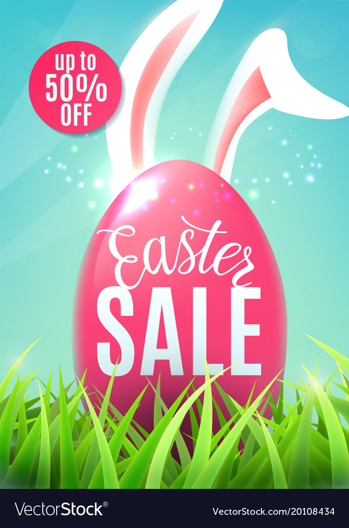 Easter sale banner with egg easter bunny ears vector image
