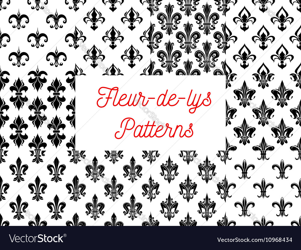 fleur de lys royal french lily seamless patterns vector image