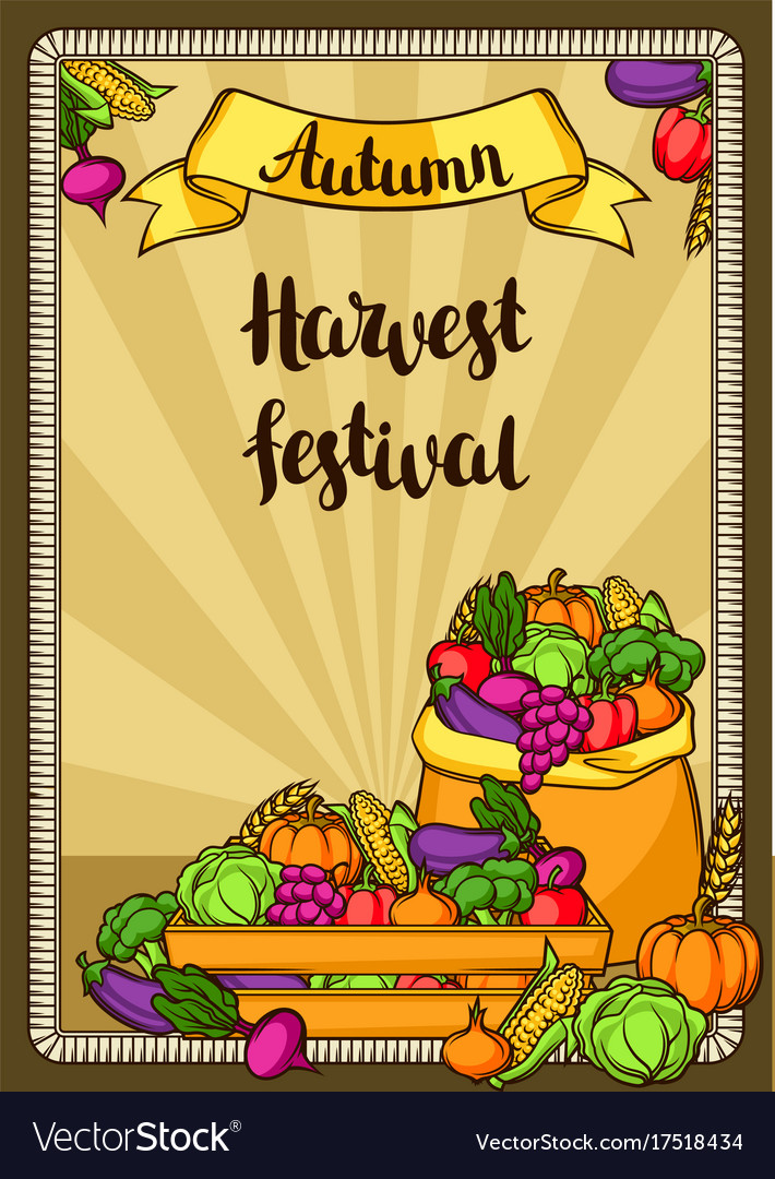 Harvest festival poster autumn with