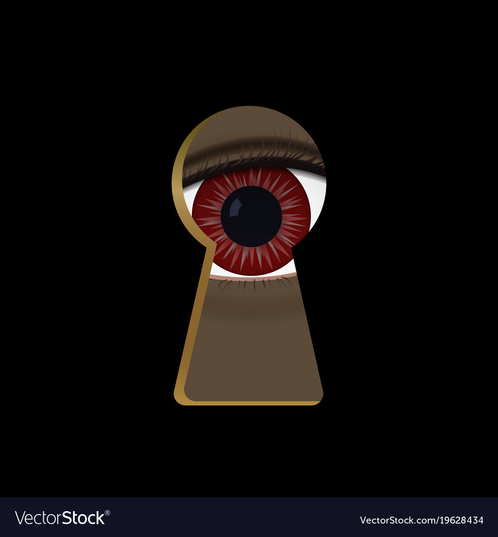 Red eyes in the keyhole monster vector image