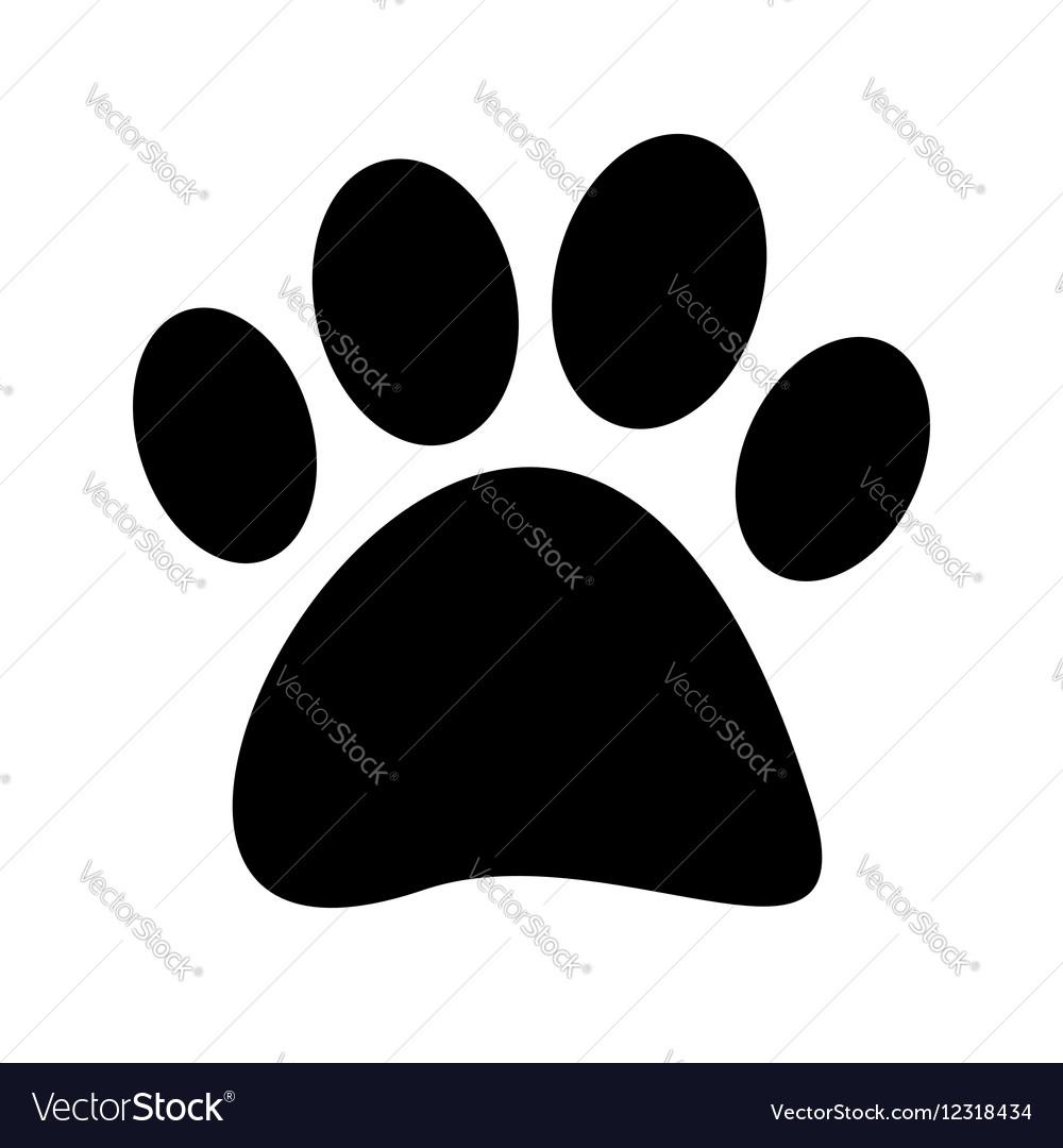 Stock Black paw print tetradigitate on a vector image