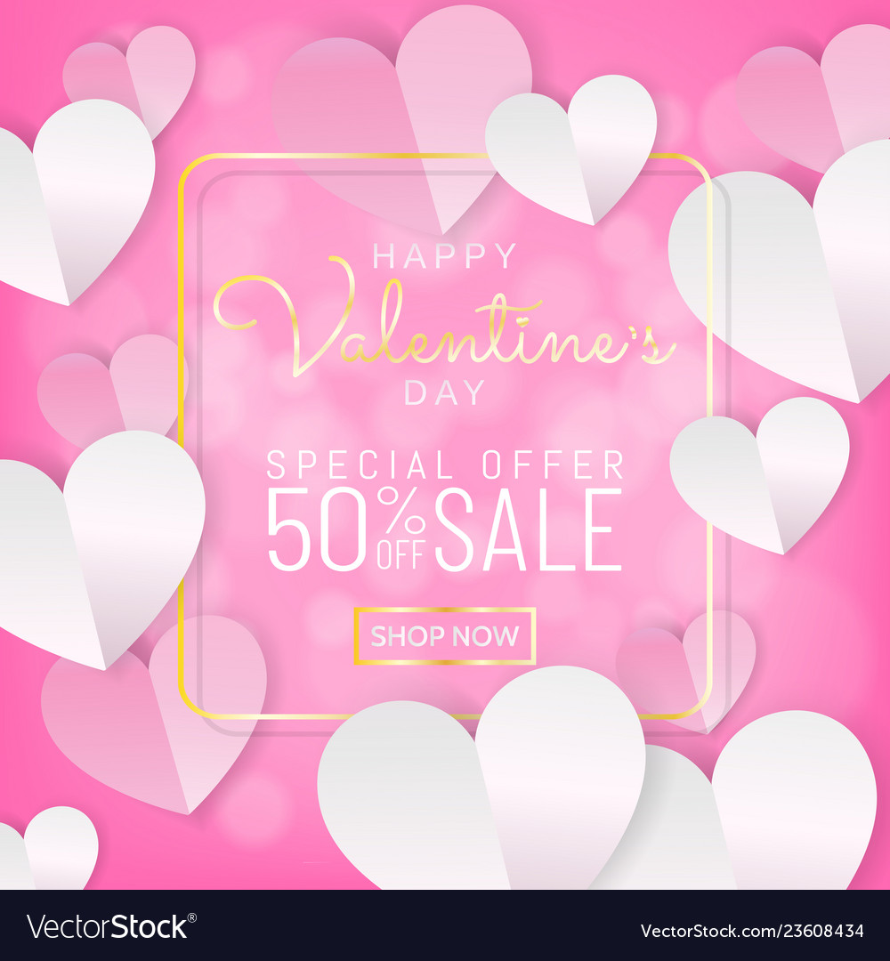 Valentines day sale background calligraphy on