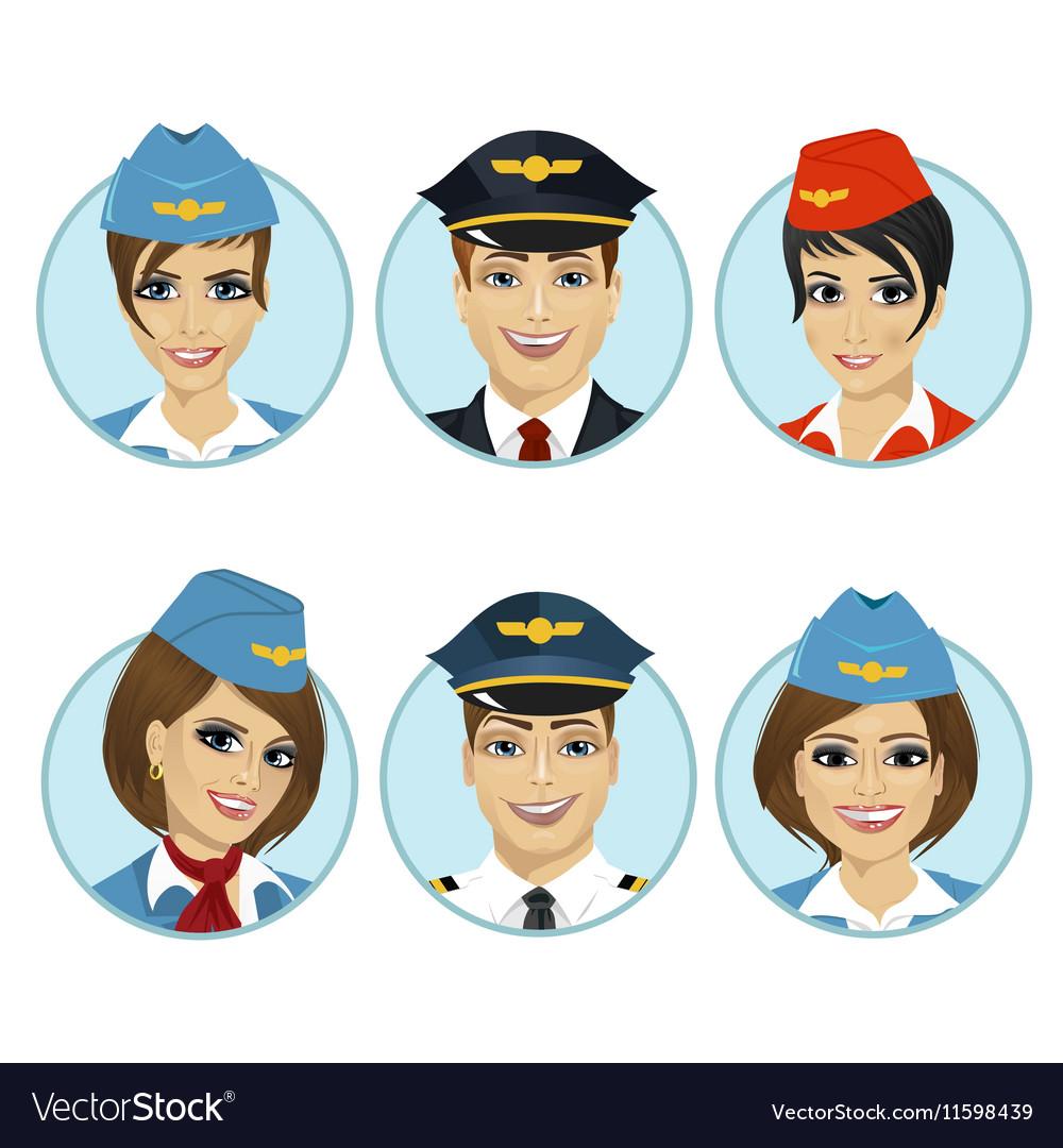 Air crew member avatars of pilots and stewardesses