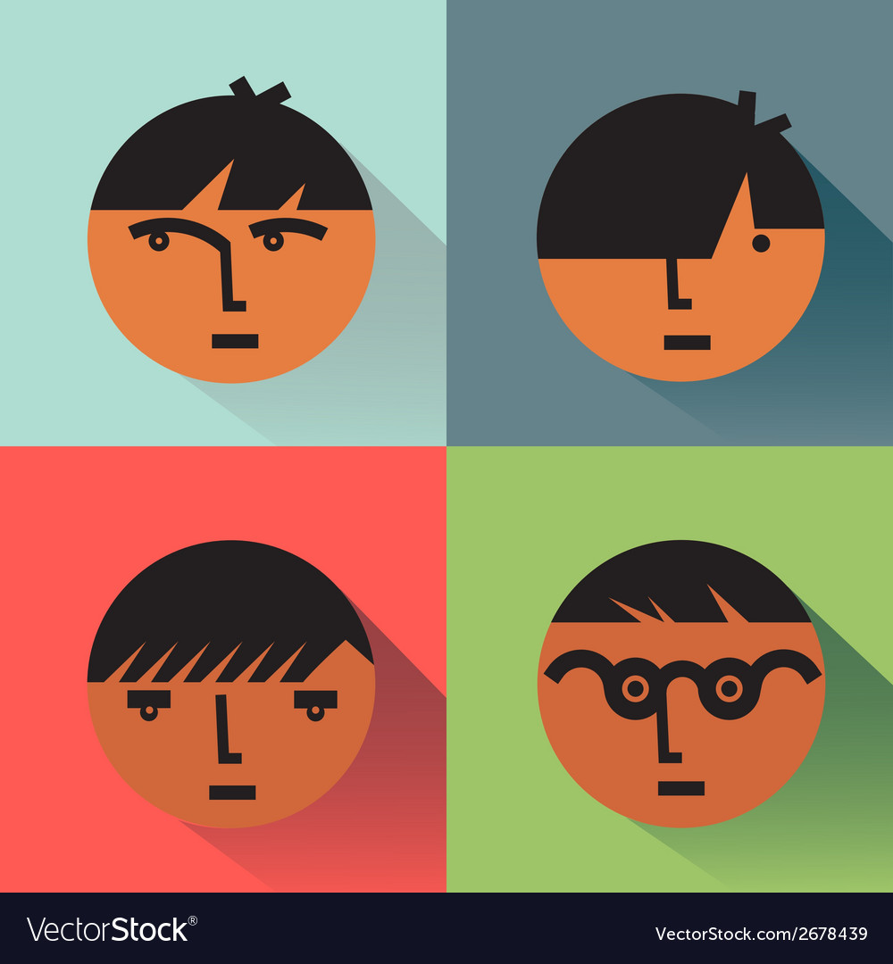 Boys Head Icons With Shadows vector image