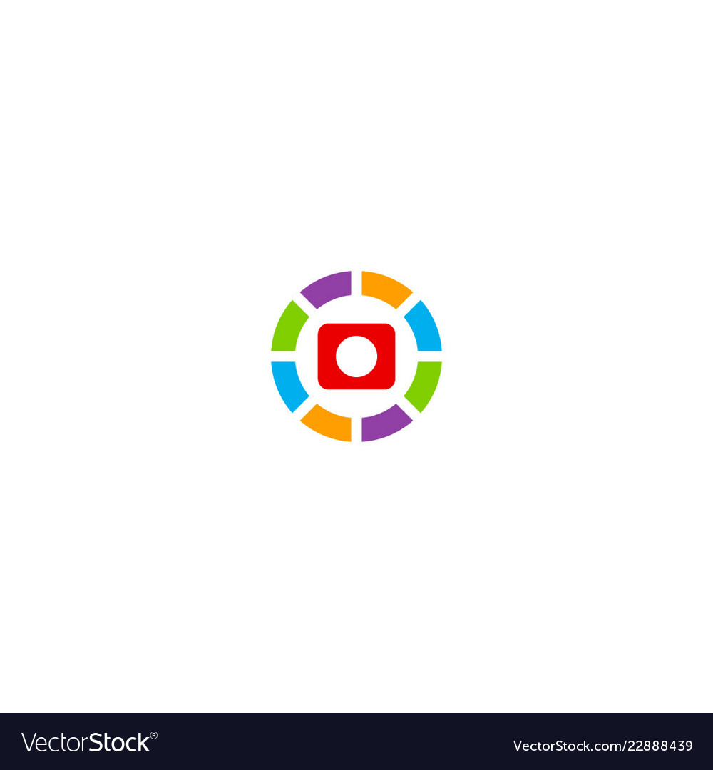 Camera icon round colored technology logo