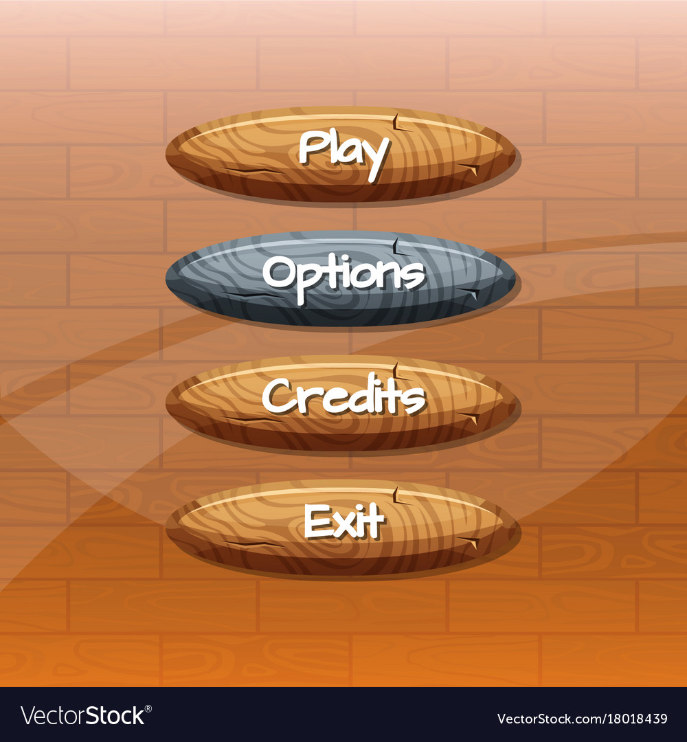 Cartoon style wooden buttons with
