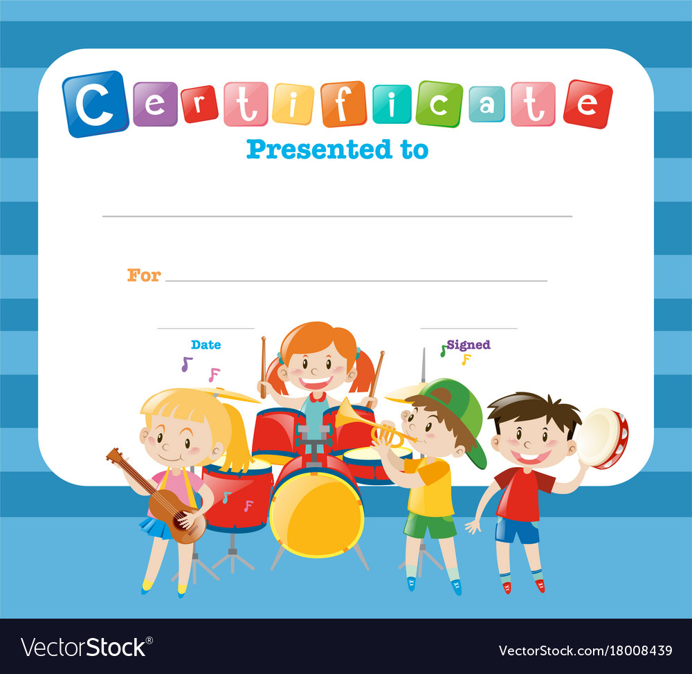 Certificate Template With Kids In The Band Vector Image