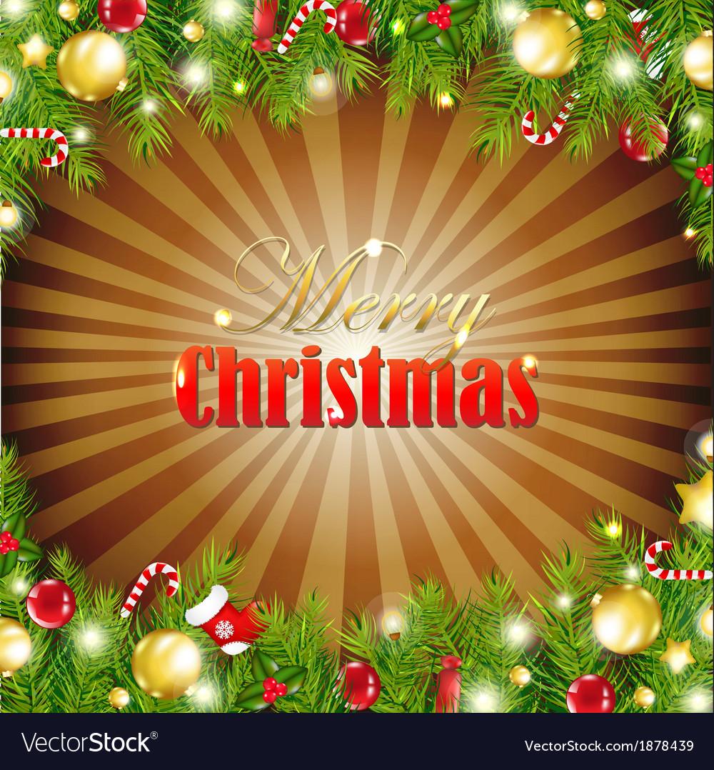 Christmas Retro Card With Garland