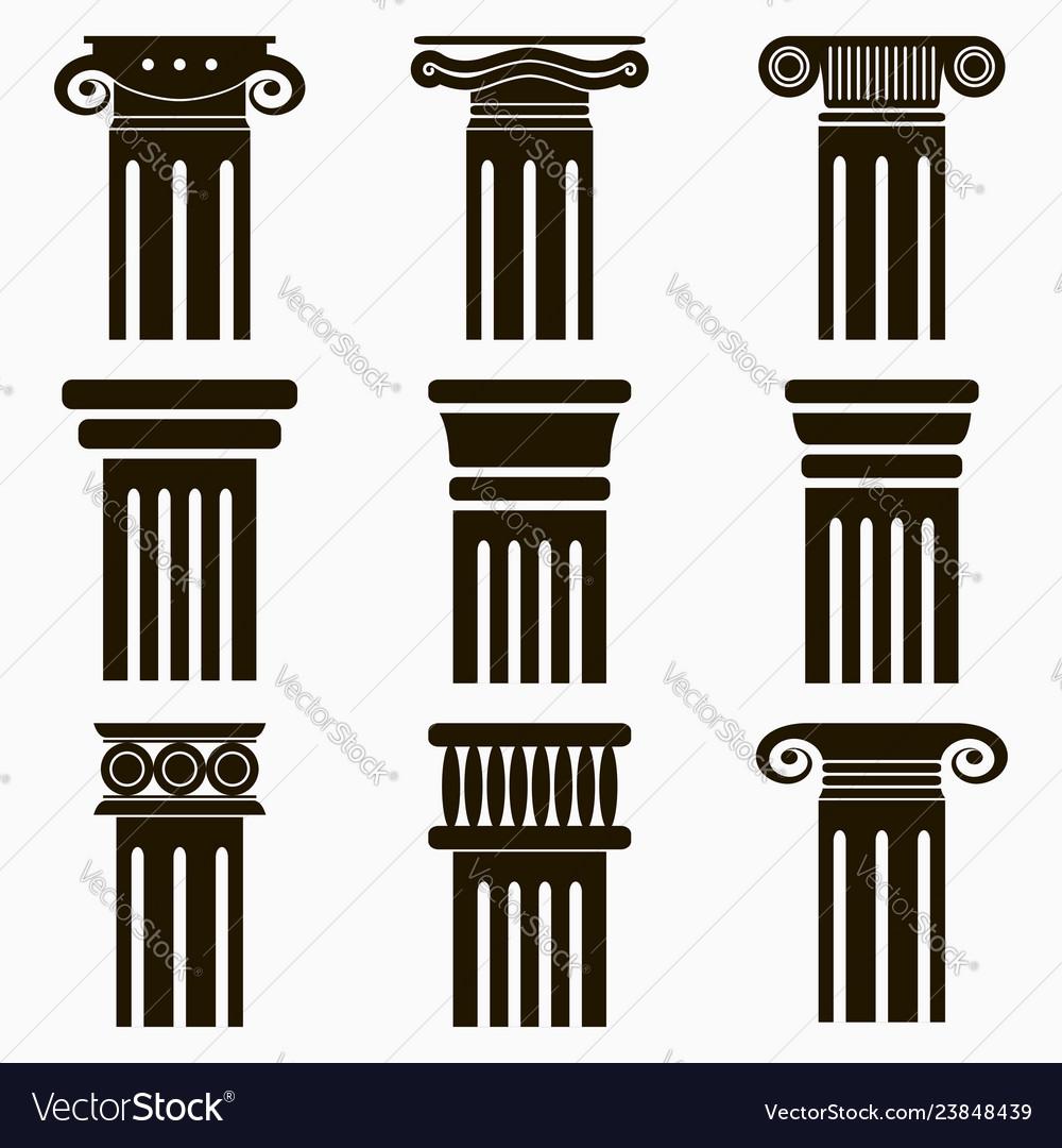 Column icons set of ancient architecture pillars