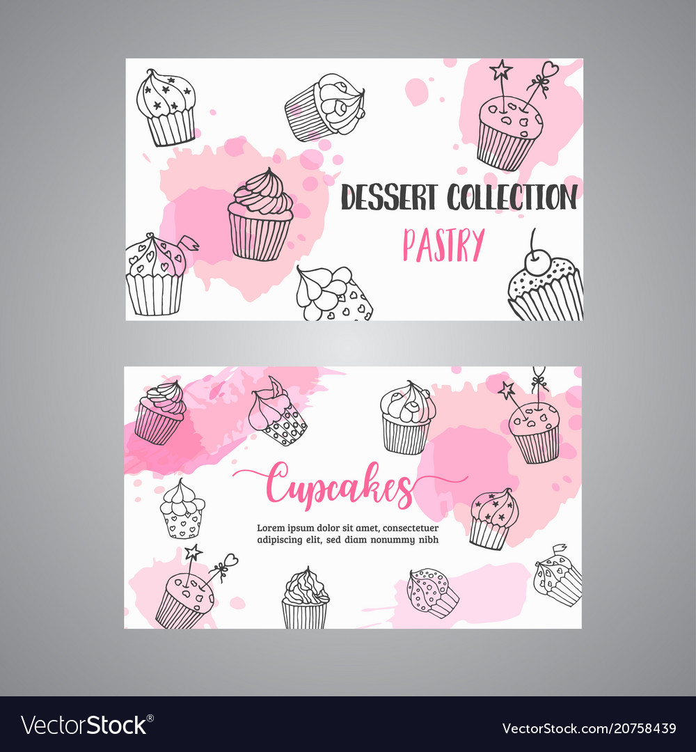 Cupcake cards with handdrawn cupcakes and pink