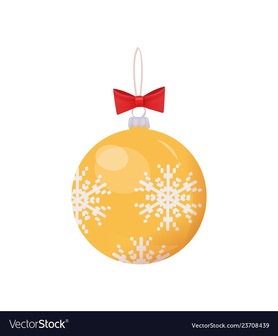 Gold ball with print of snowflakes isolated