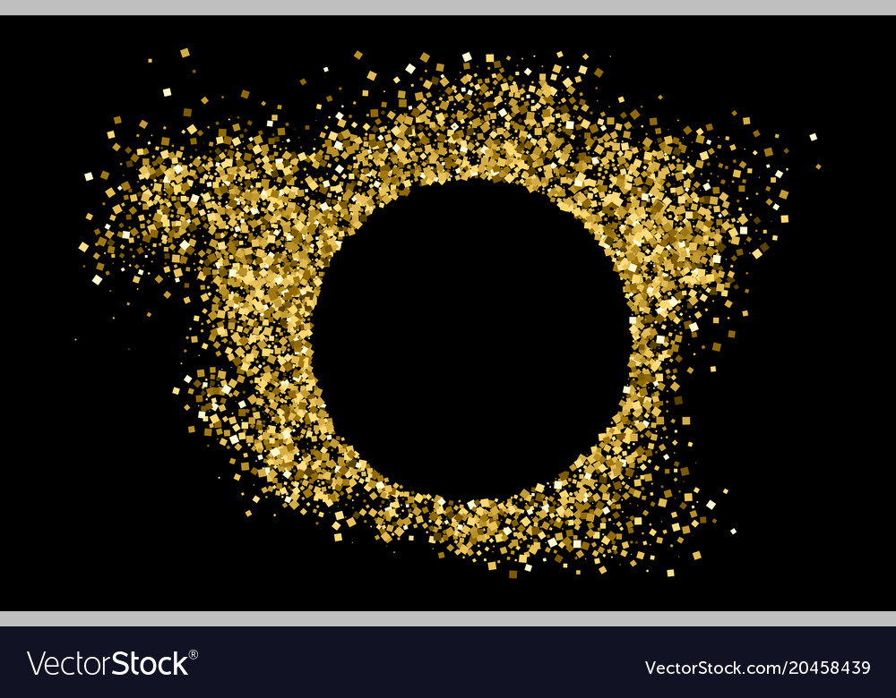 Gold frame glitter texture isolated on black