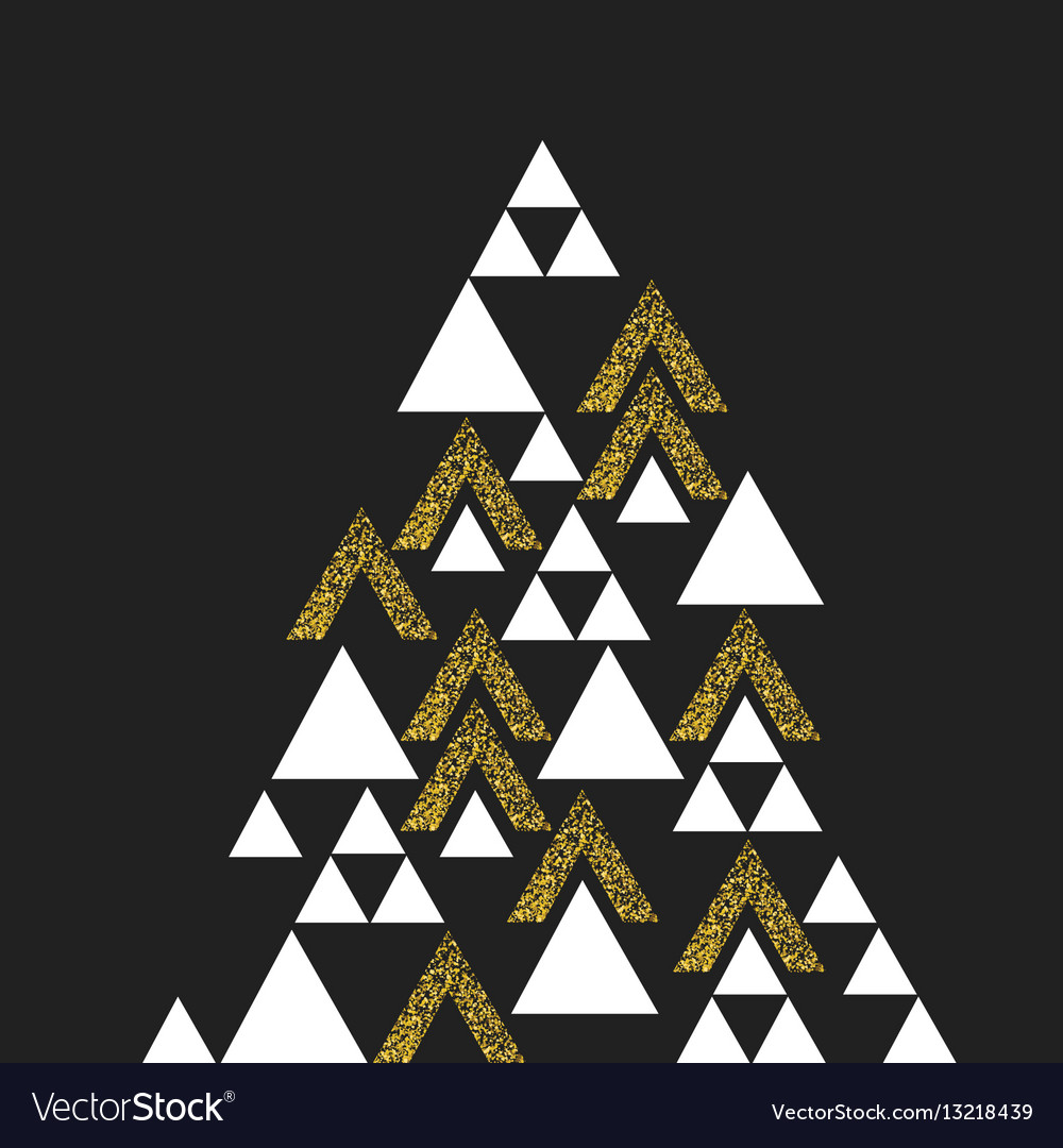 Gold geometric Christmas tree symbol Isolated on