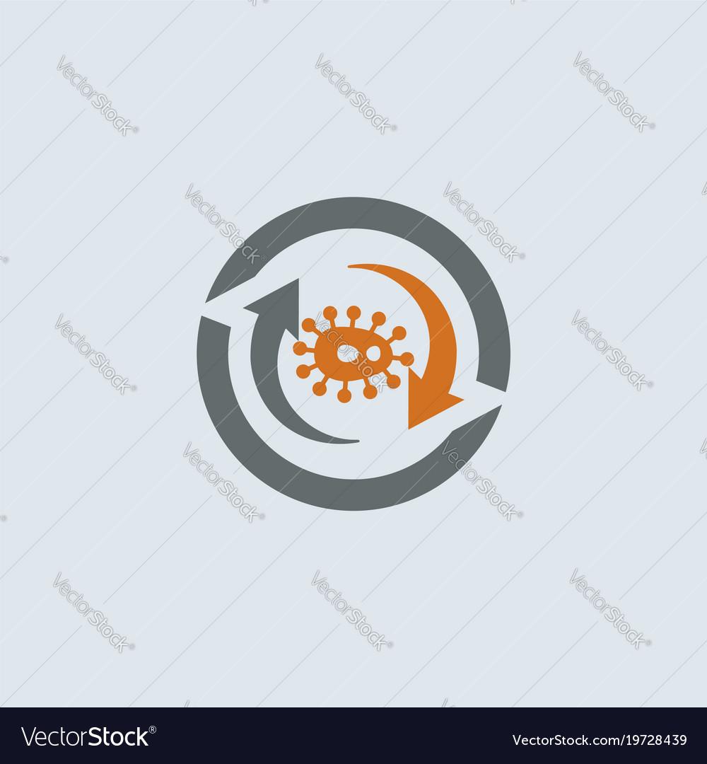 Gray-orange virus round icon vector image