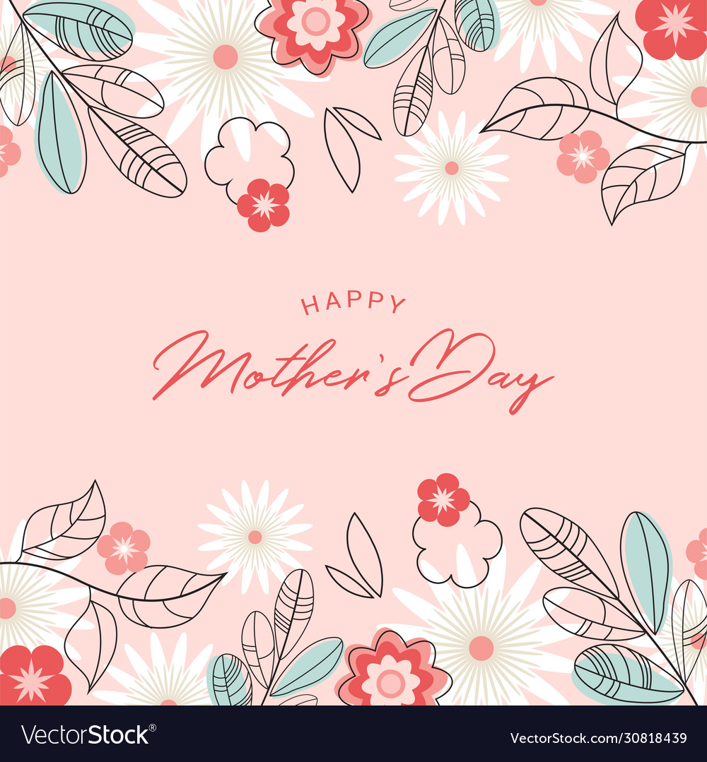 Happy mother day holiday pink flower on blue