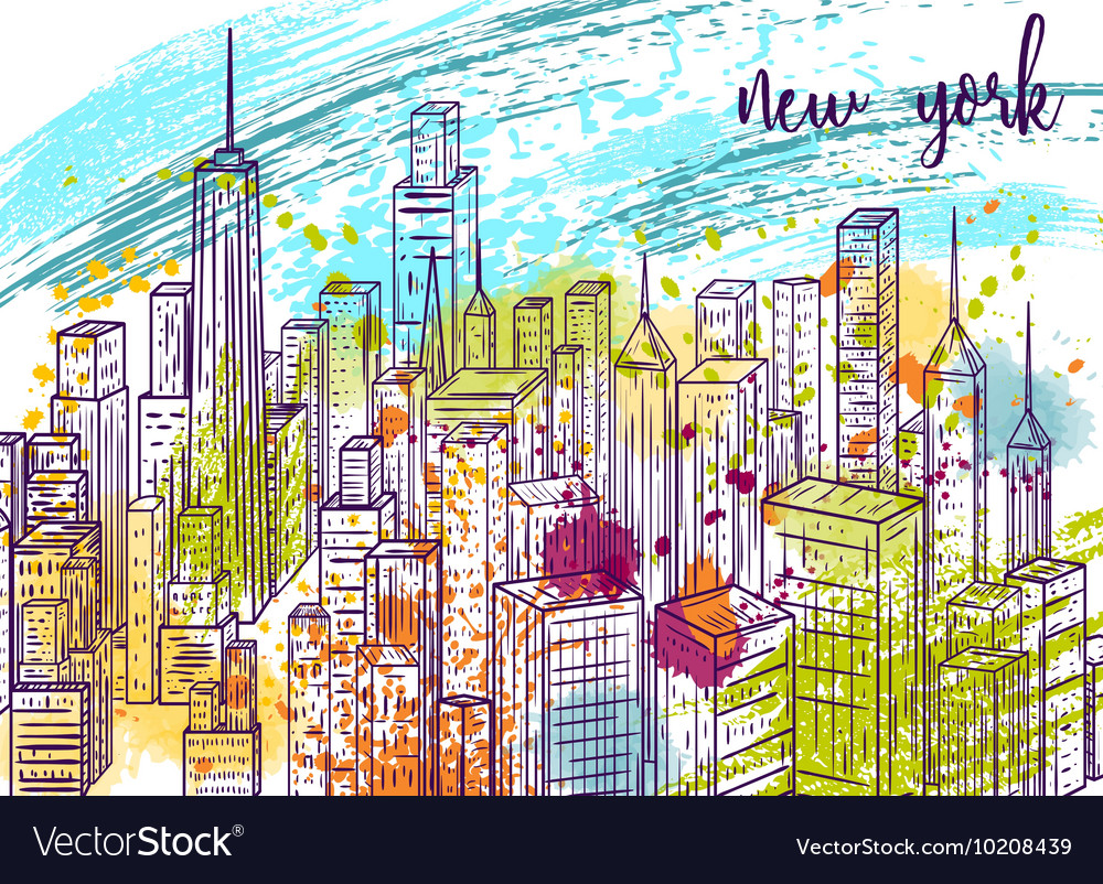 New york city landscape with watercolor splashes