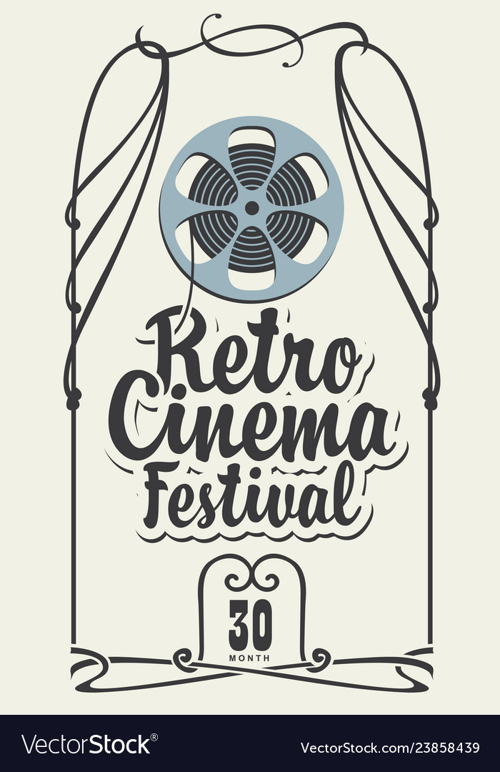 Retro cinema festival poster with film strip reel