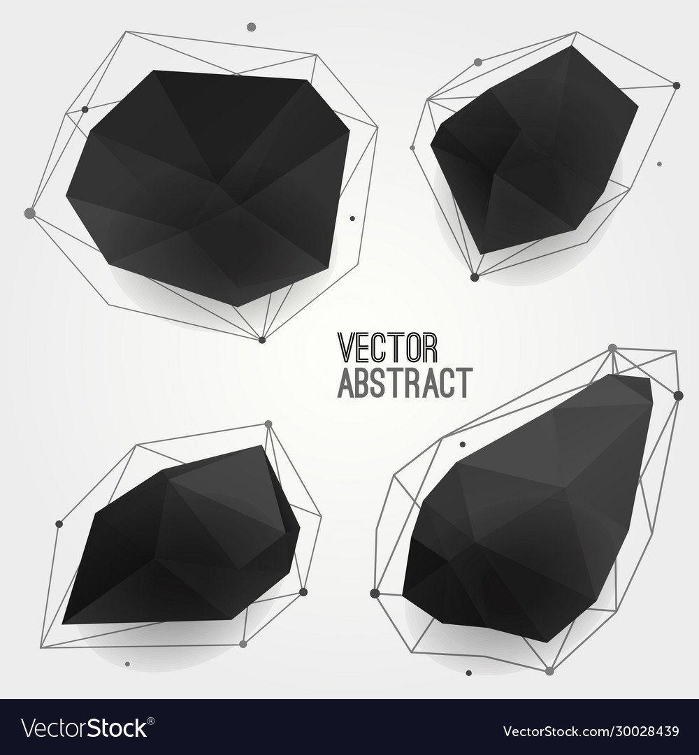 Set abstract modern black crystal shapes vector