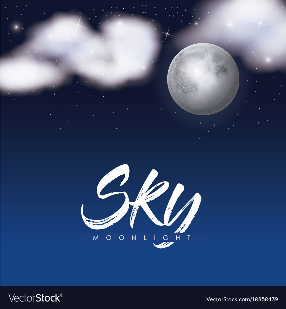 Sky moonlight poster with clouds over moon in