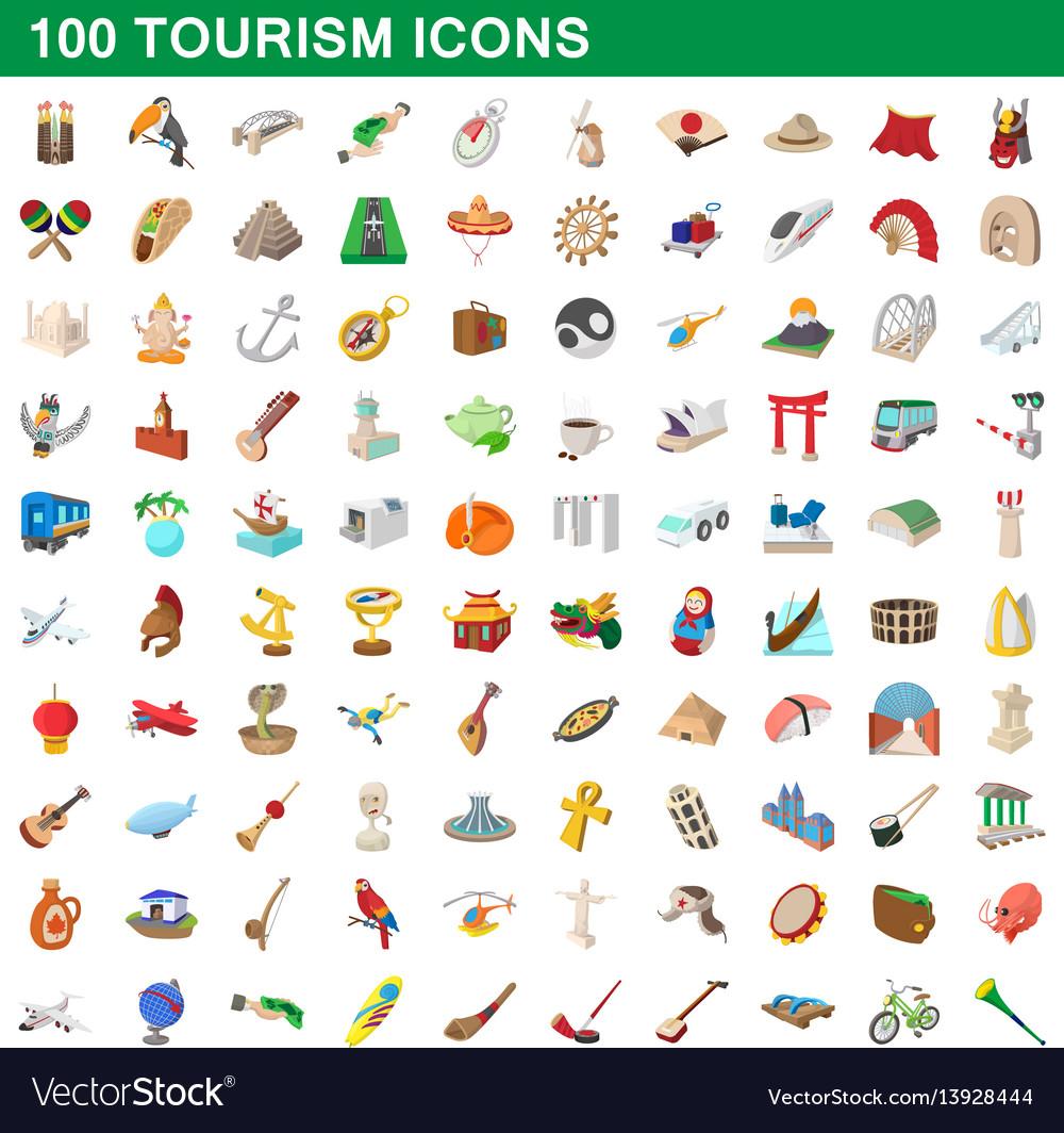 100 tourism set cartoon style