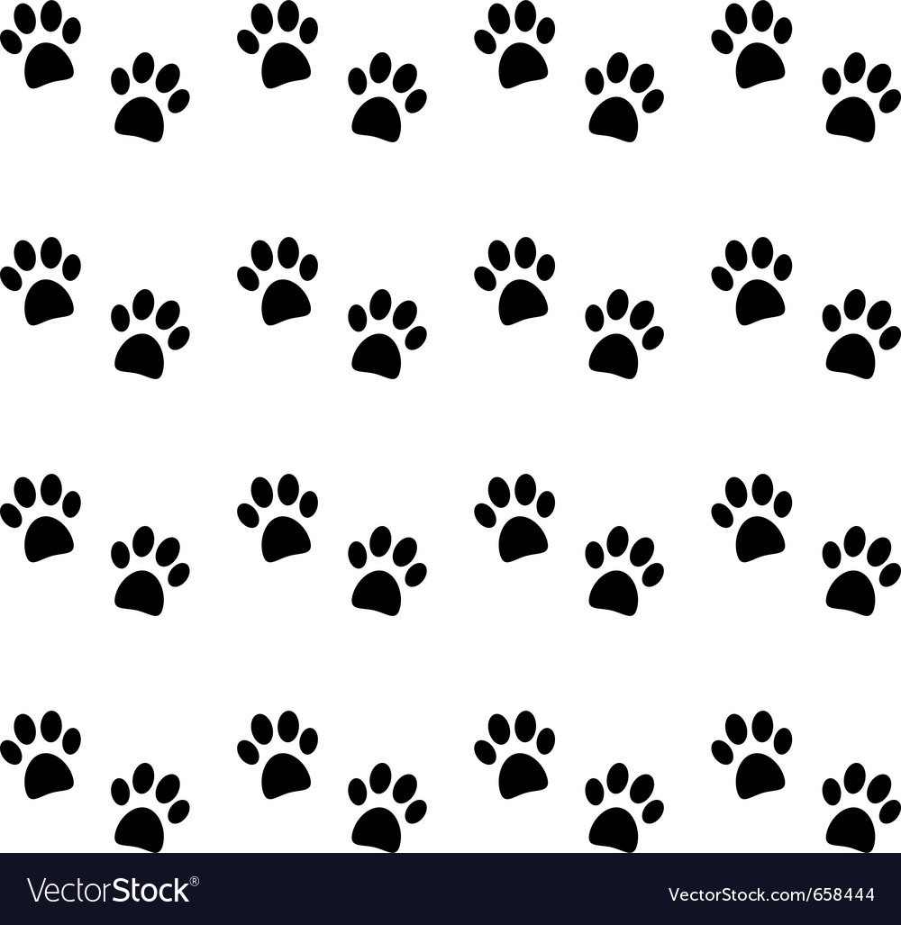 Background with black paw prints vector image