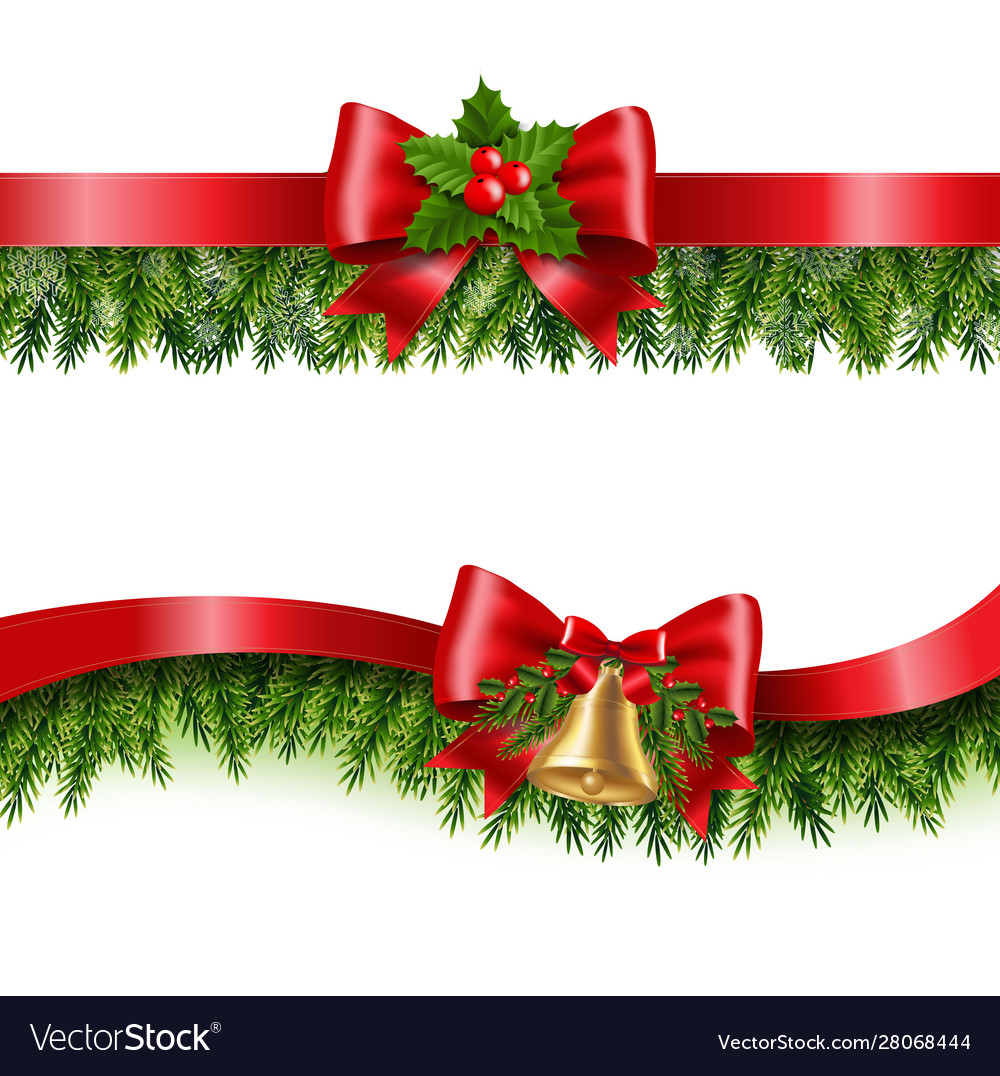 Christmas red ribbon and fir tree white background