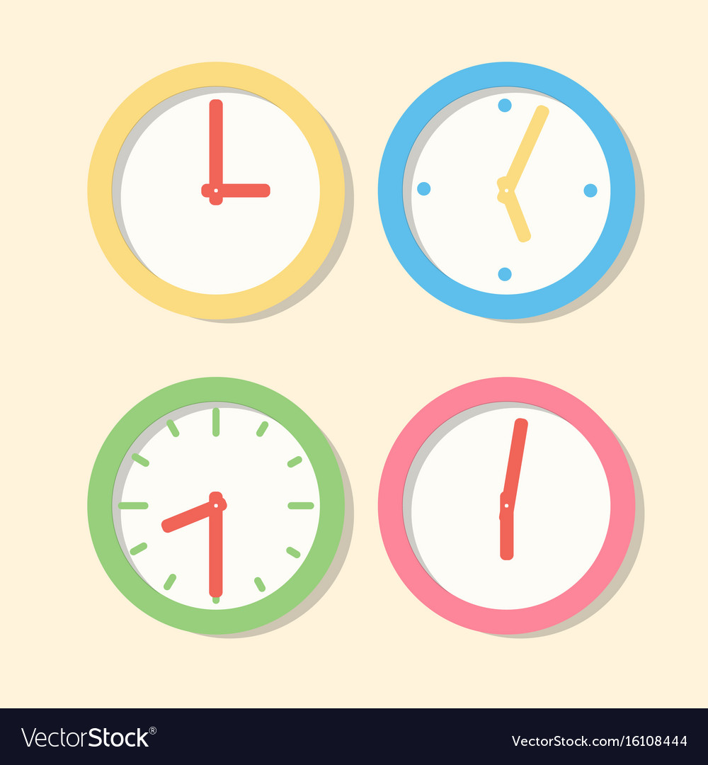 Collection wall clock patterns icons clock in vector image