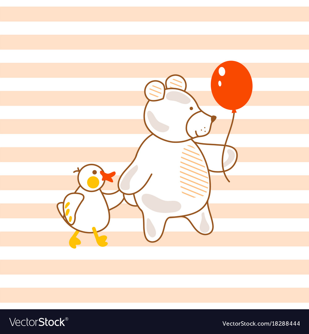 Cute bear and duck friends pink