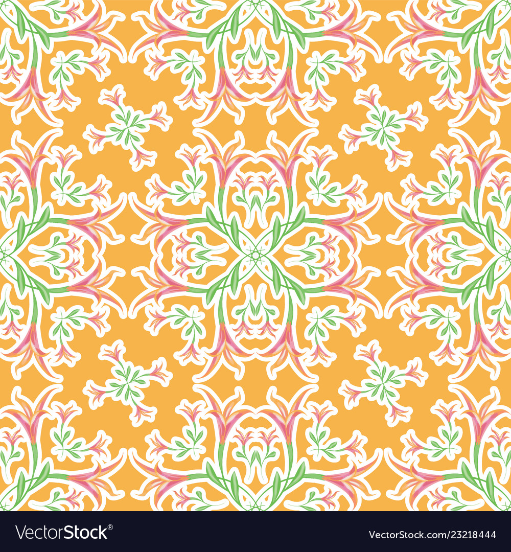 Floral orange seamless ornament pattern of lilies