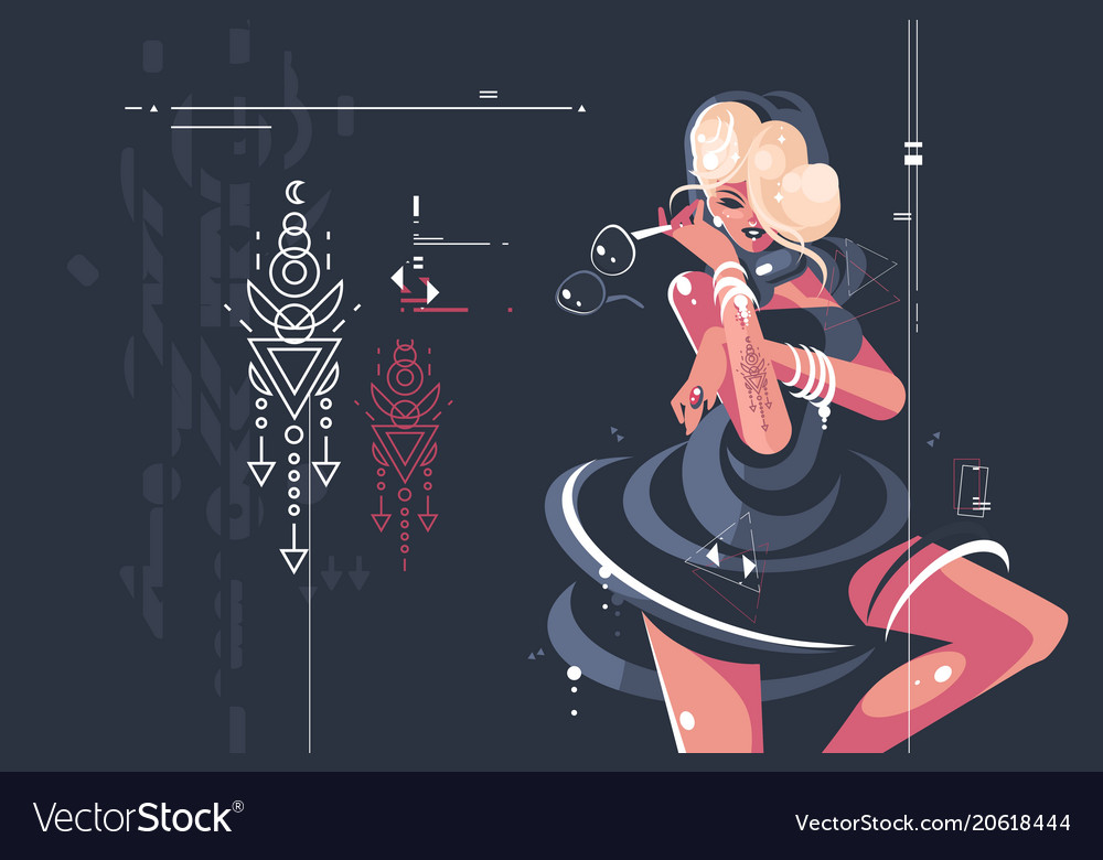 Girl in dark dress with glasses vector image