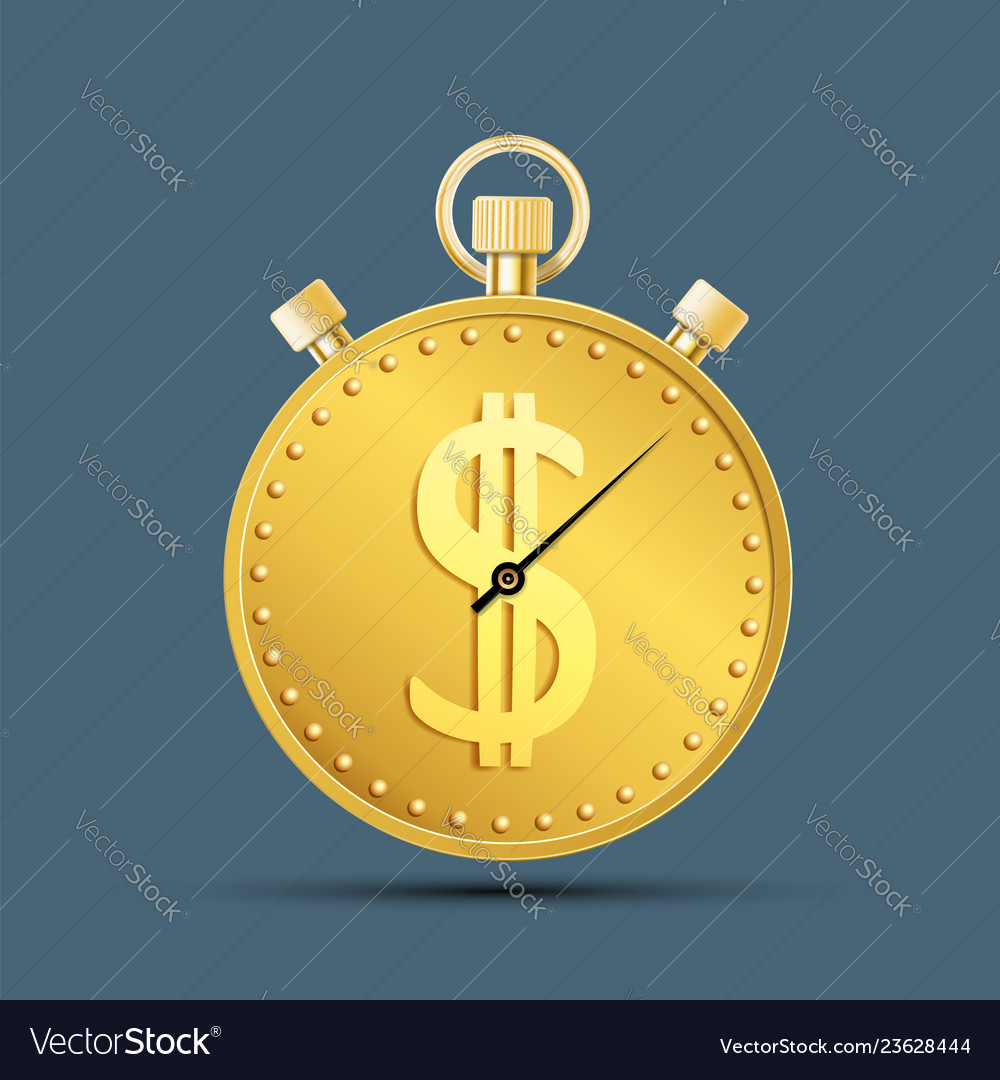 Icon currency dollar sign on a sport stopwatch
