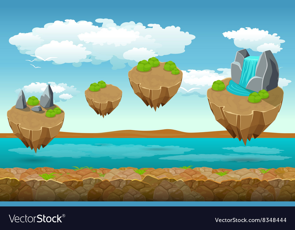 Jumping islands game pattern the river bottom and
