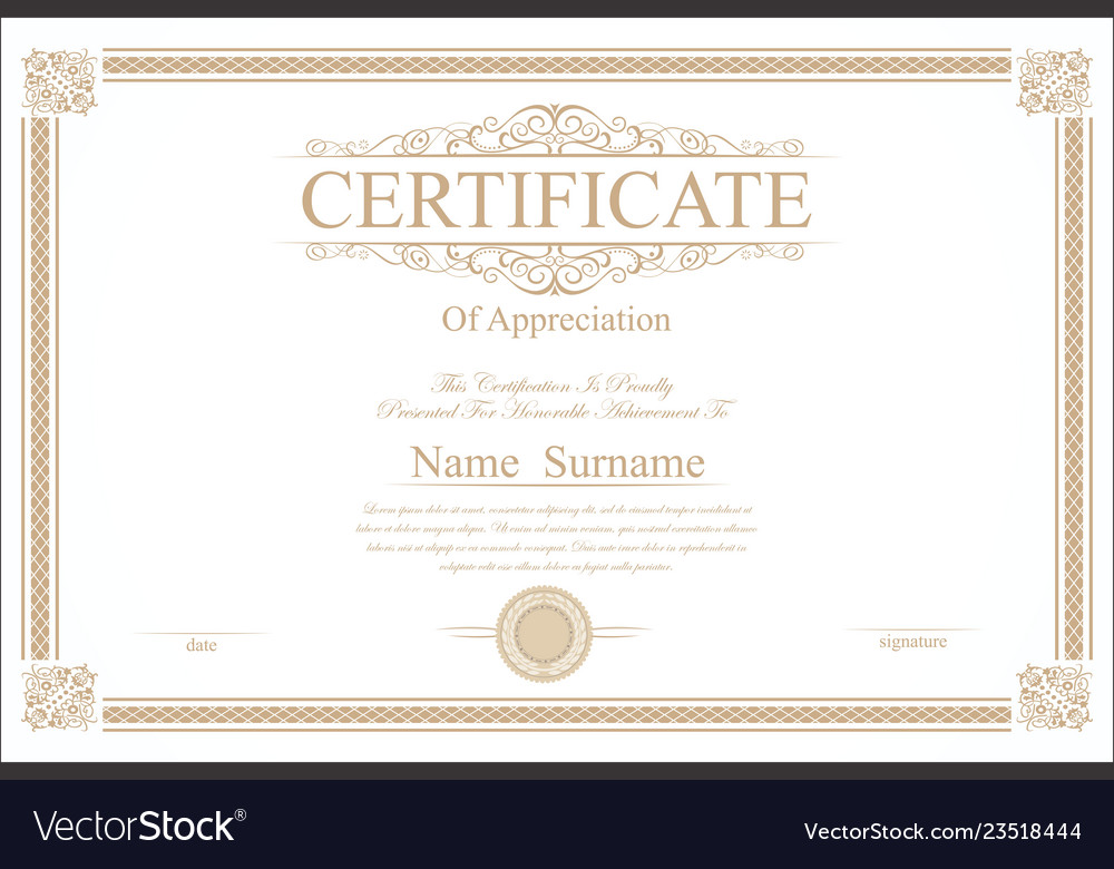 Retro vintage certificate or diploma template 3