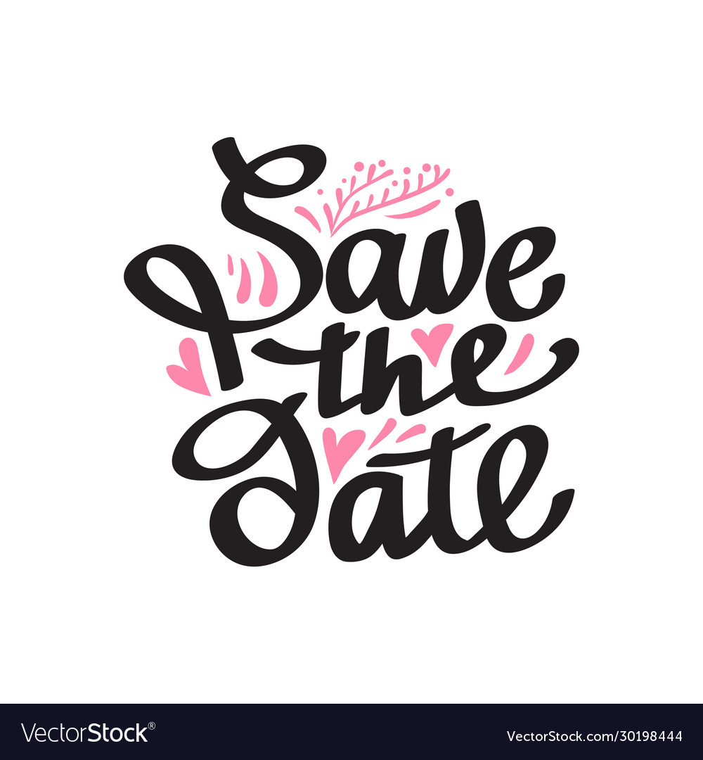 Save date hand lettering