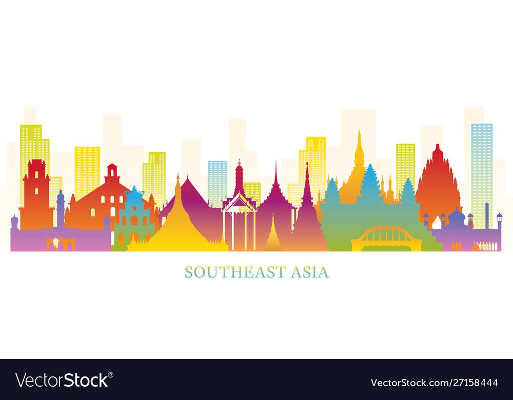 Southeast asia skyline landmarks colorful