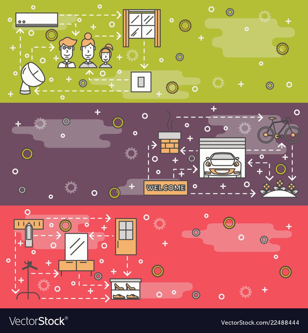 Thin line art housing web banner template