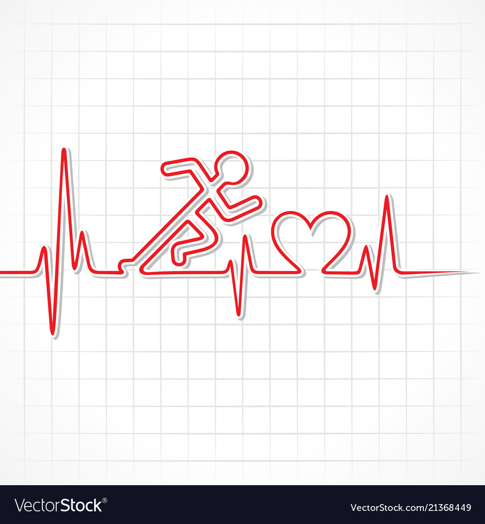 Abstract running man with heartbeat