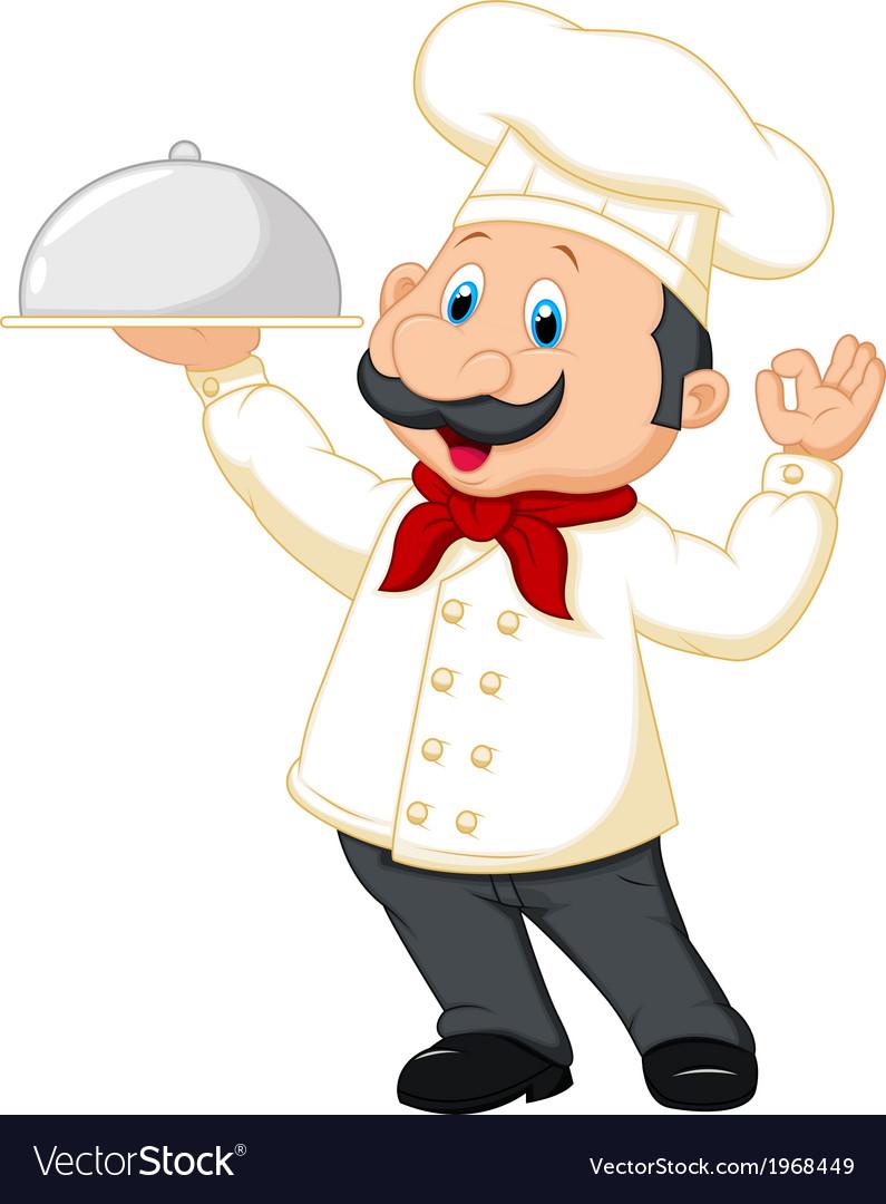 Chef cartoon holding platter vector image